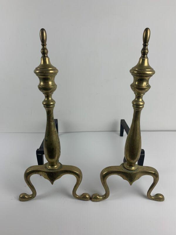 Vintage Brass ANDIRONS  Finial Spun Tops Old Pair Fireplace Patina