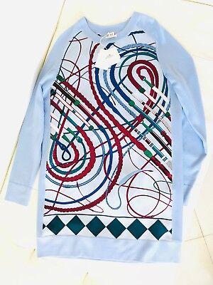HERMES 2018 BLUE TOP SHIRT LONG TUNIC CAFTAN DRESS CLASSIC ICONIC PRINT 38 NWT