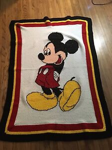 Hand knitted Mickey Mouse blanket