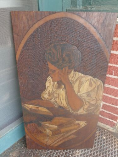 RARE LARGE ANTIQUE VICTORIAN GIBSON GIRL CARVED ARTIST SIGNED PYROGRAPHY PLAQUE