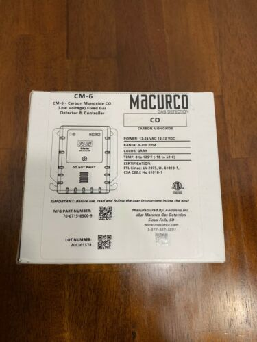 MACURCO CM-6 Gas Detector,CO,LED,0 to 200 ppm, Gray