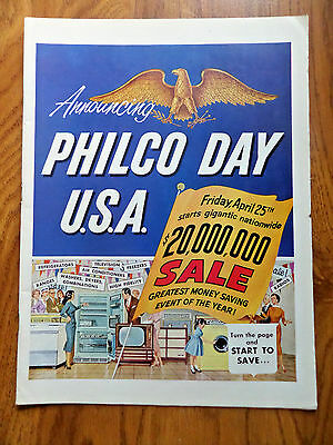 1958 Announcing Philco Day USA $20,000,000 Sale TV Kitchen Appliances 11 Pages