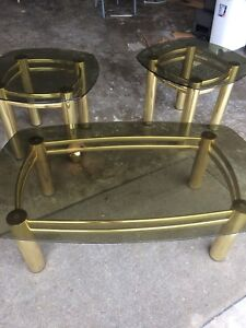 Brass plated table set with tinted glass