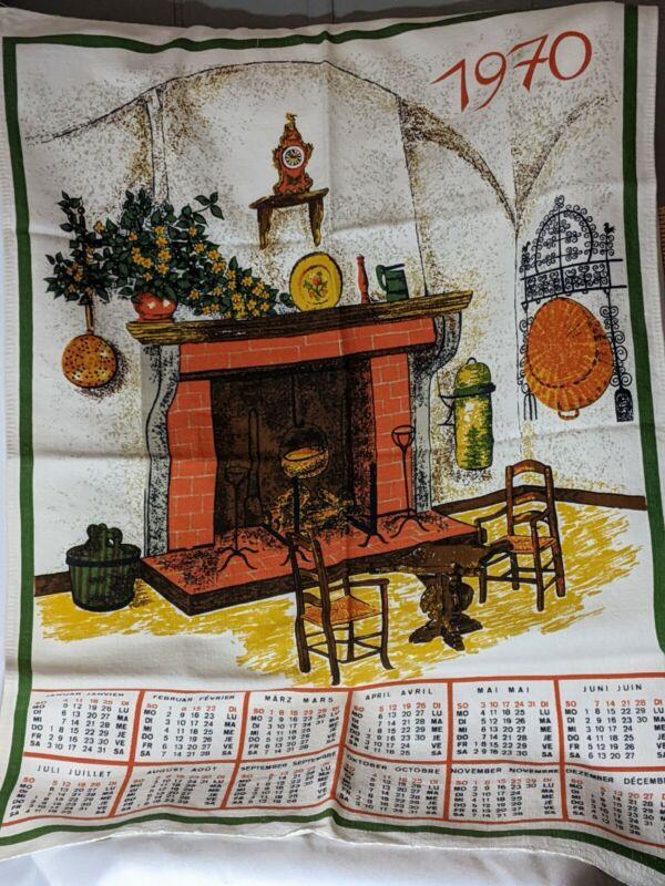 Vintage Linen Tea Towel  1970 Indanthren  Calander Collectors