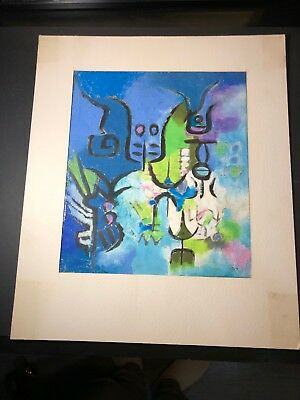 vintage Mixed Media Painting Watercolor / Ink Signed