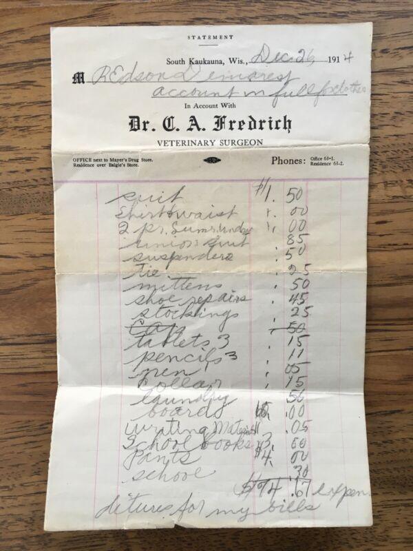 Antique Veterinary Surgeon Statement Invoice South Kaukauna WI 1914 Ephemera