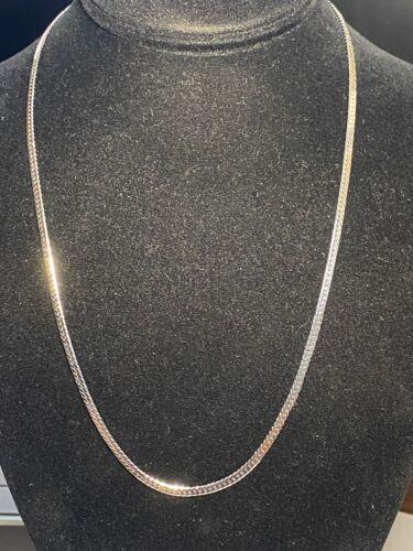 """14k White Gold Shell 14KGS 2.7mm Herringbone 20 1/4"""" Long Necklace"""
