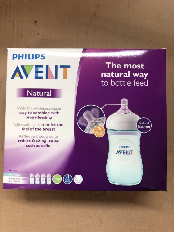 PHILIPS AVENT Natural Baby Bottles 4-Pack Teal 9oz Bottles SCF013/44