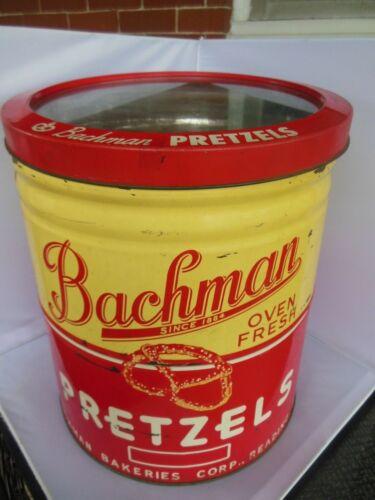Vintage large Bachman Pretzel can w. glass display lid
