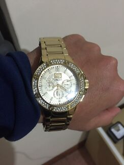 Marc ecko gold watch  with CZ bezel Milperra Bankstown Area Preview