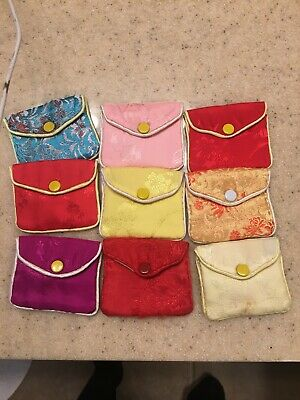3 Pcs Jewelry Silk Pouch Packaging Bags Wedding Party Gift Us Assorted Patterns