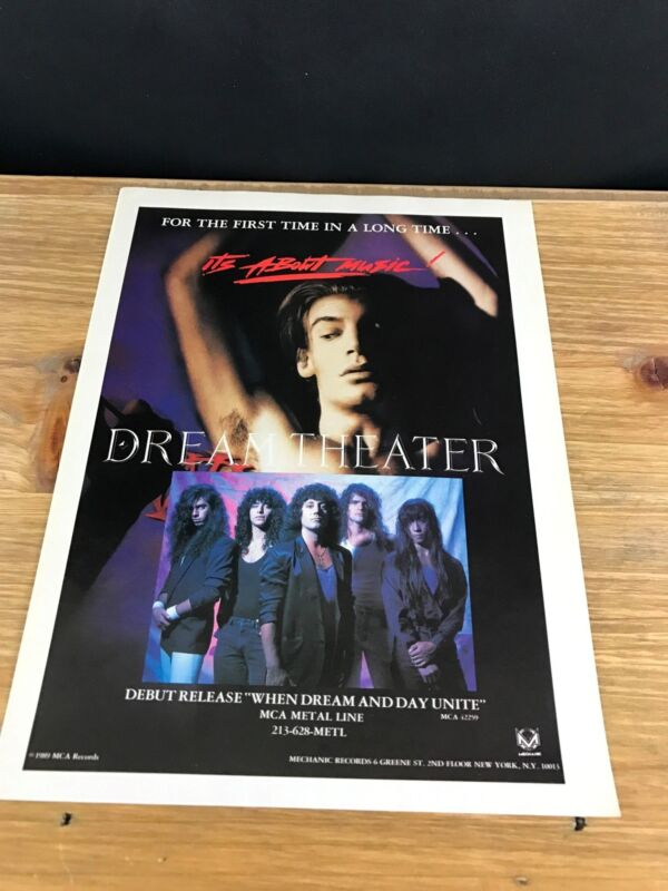 1989 VINTAGE 8X11 DEBUT ALBUM PROMO PRINT AD FOR DREAM THEATER ITS ABOUT MUSIC!