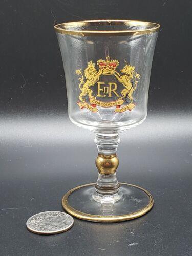"3 7/8"" Queen Elizabeth ELEGANT CORONATION GLASS - Cordial Aperitif - Gold Trim"