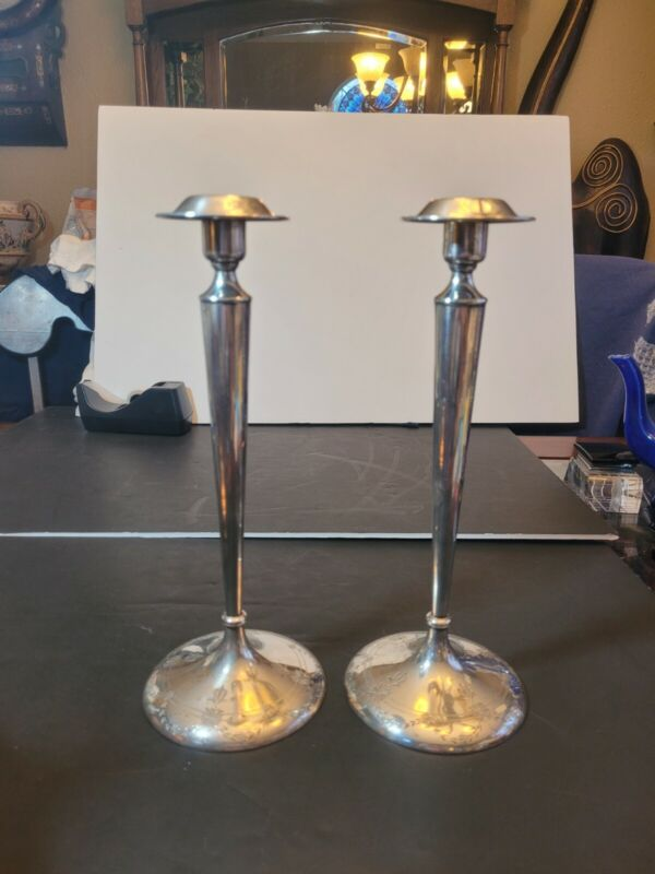 """Antique Shreve SF Sterling 12""""x4.5"""" Candlesticks. Excellent cond. Carved flowers"""