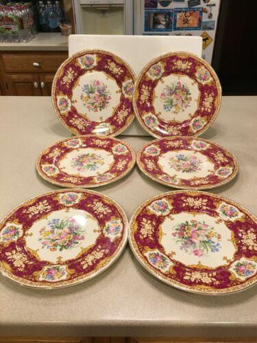 "6 Myott Dinner (10 3/4"") Plates Staffordshire England Red 4744M"