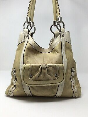 B Makowsky Distressed Beige Two Tone Pebbled Leather Handbag Purse Tote Large