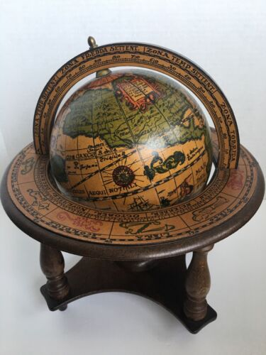 Vintage Olde World Wooden Desk Globe with Zodiac Stand - Made in Italy