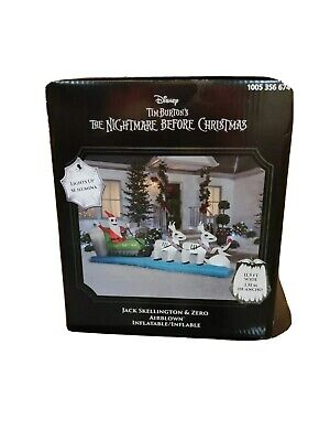 Jack Skellington & Zero Christmas Sleigh Inflatable LED 11.5 foot Yard Ornament