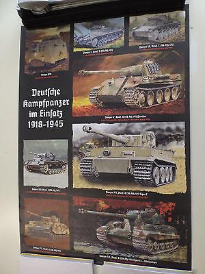 """Plakat Poster Wehrmacht """"Deutsche Kampfpanzer im Einsatz"""" Tiger Panther Heer"""