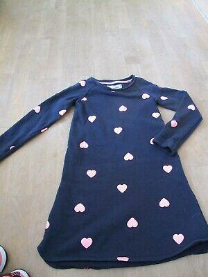 H & M LOOG *122/128* navy/pink Herzen - wenig getragen (Navy Kleid Mädchen)