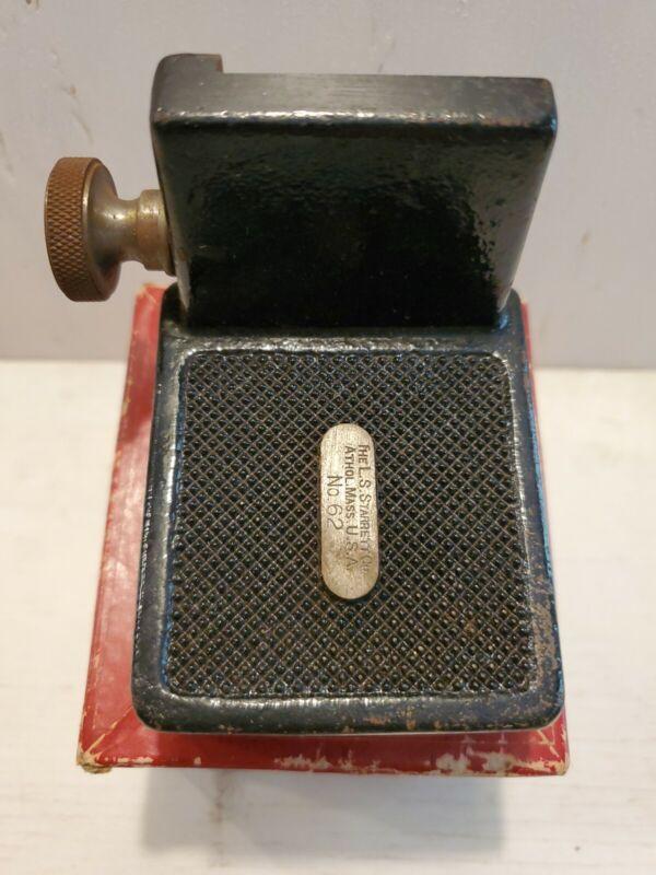 Vintage Starrett no. 62 Rule Holder Machinist Tool Maker Ruler Base with Box