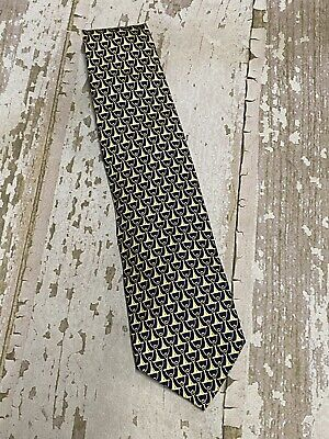 Paolo Designed By Paolo Gucci Neck Tie 100% Silk Blue Gold Chain Italy Vintage