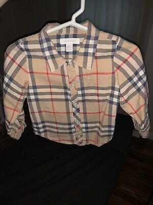 Burberry Children Baby Boy Dress Shirt Button Down Plaid 18 Month 18m