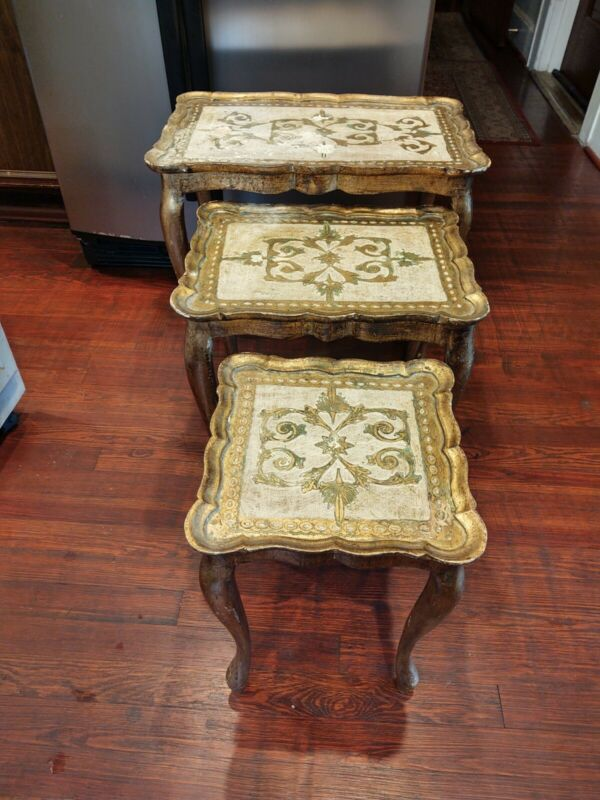 Vintage Antiqued Italian Nesting Tables 3 Pieces Stacking Gold Finish