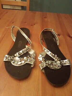 Used, Naughty Monkey SILVER Embellished Rhinestone CRYSTAL Sandals Silver SZ 9 for sale  Chesterton