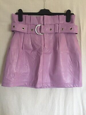 Topshop, Honey Punch, Faux Leather Mini Skirt With Belt, Lilac, Size L, Size 10