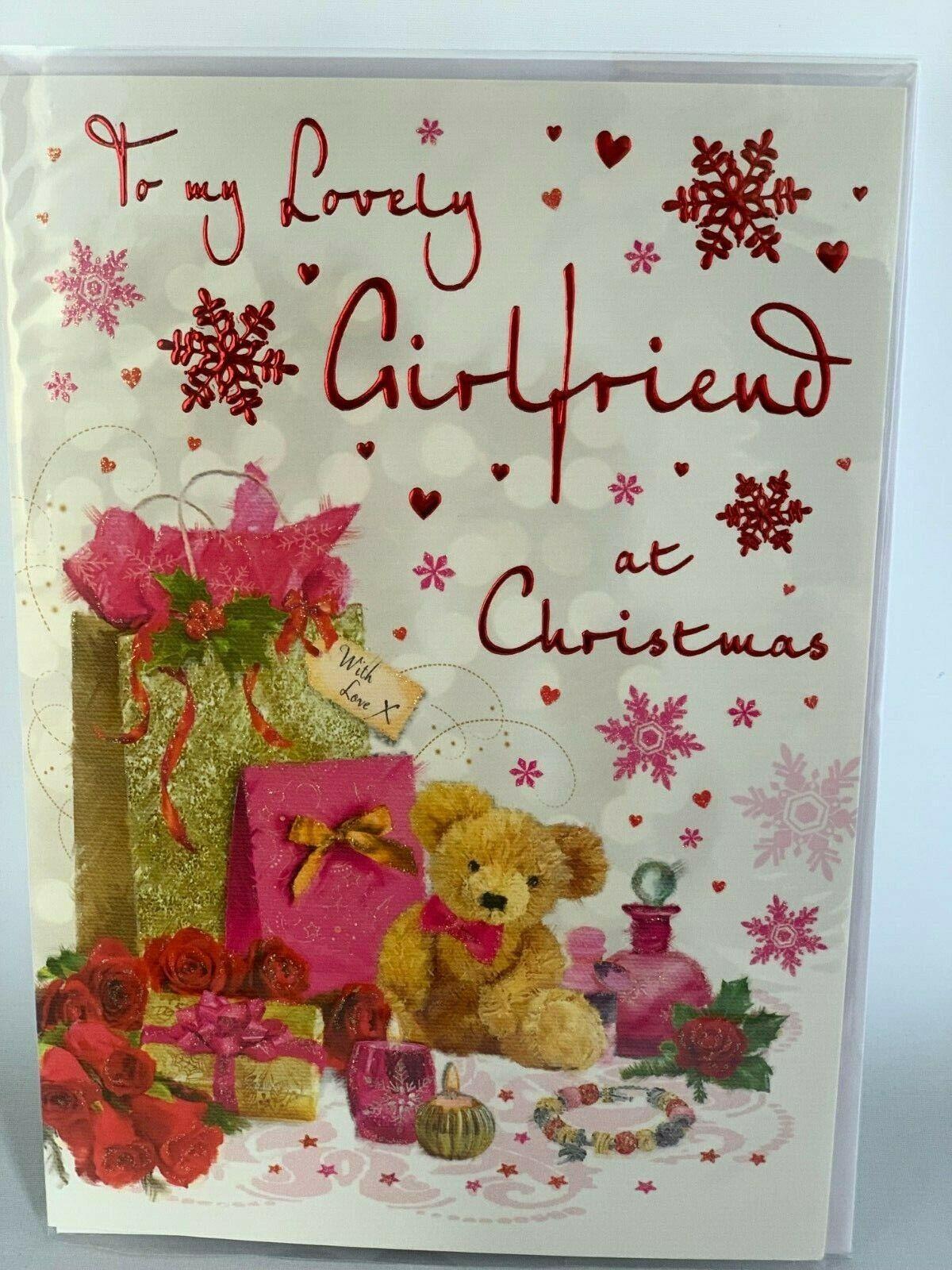 GIRLFRIEND GLITTER CARD CUTE CHRISTMAS WISHES