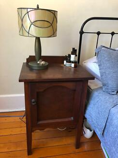 Antique walnut bedside table (single)