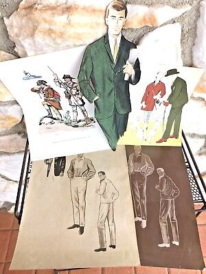 Vintage Mid Century Modern Male Fashion Art 50s 60s 70s lot