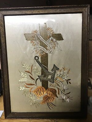 AMAZING Antique embroidered cross stitch Sailor Cross & Anchor