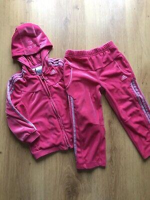 ADIDAS velour Tracksuit Cerise Pink Age 1-2