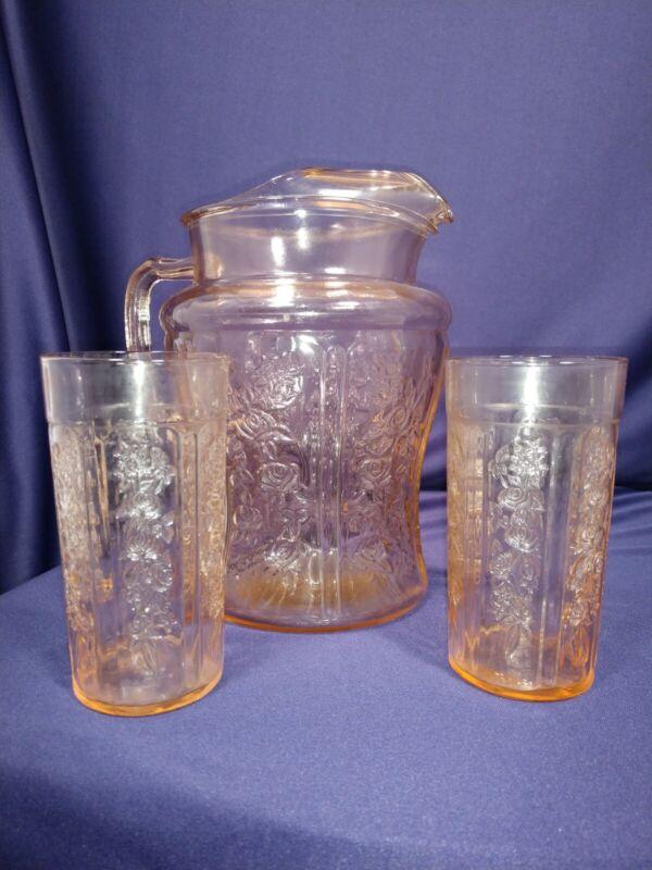 VINTAGE PINK FEDERAL GLASS CABBAGE ROSE 80 OZ. Pitcher & 2 glasses