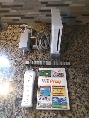 White Nintendo Wii Console - RVL-001 - Cords, WiiMote and Wii play!