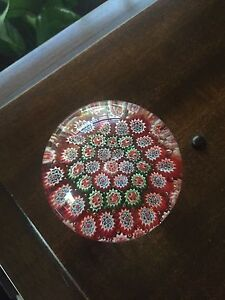 Millefiori Blown Glass Red Green Paperweight