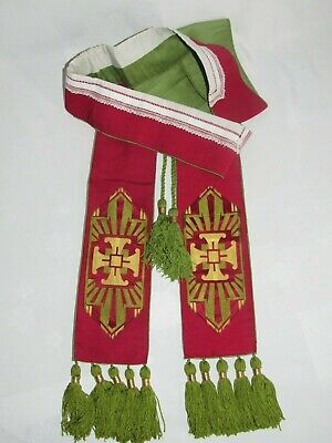 02F13 Antique Stole Embroidered Priest Autel Mass Religion Clothing
