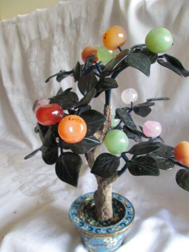 Vintage  Chinese Jade bonsai  tree cloisonné  planter statue