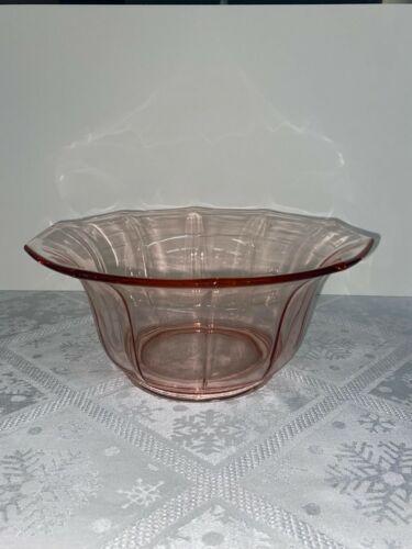 Octagon Pink Depression Glass Large Bowl