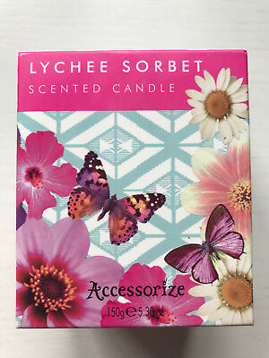 BNIB Sealed Accessorize Lychee Sorbet Scented Natural Candle 150g 35 Hour