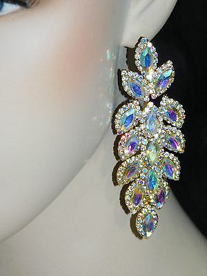 GOLD AB IRIDESCENT MARQUISE AND ROUND RHINESTONE CRYSTAL PARTY EARRINGS /3046 ()