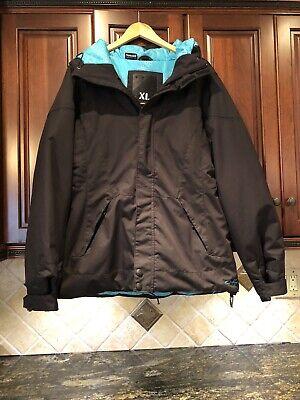 Exc! OAKLEY Eaves Black Teal SNOWBOARD SKI JACKET COAT Full Zip Hooded M-L W-XL