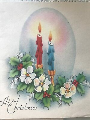 Vintage Christmas Card Used Taper Candle Burning Flame Halo Magnolia Holly