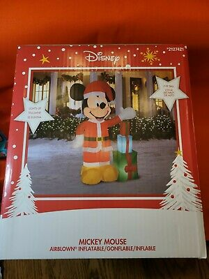 DISNEY Mickey Mouse CHRISTMAS Present INFLATABLE Lights Up 7ft Giant Yard NEW