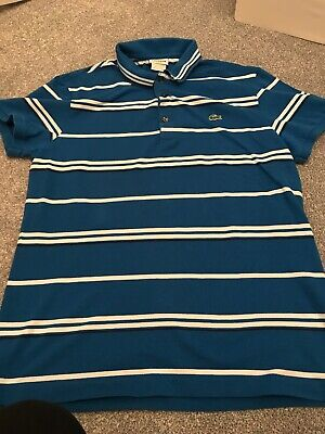 Lacoste polo shirt size 6 Royal Blue Stripe Authentic Slim Fit