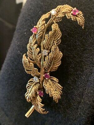 Tiffany & Co 18K Gold Diamond Ruby Branch Leaf Leaves Pin Brooch .60 TCW 14+GRAM