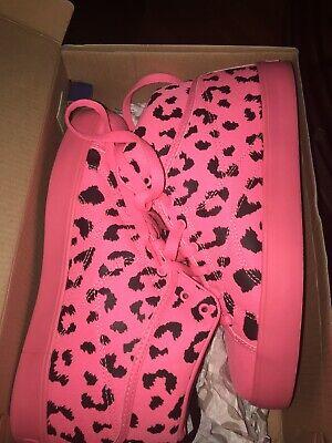 Reebok T-Raww Neon Pink Black Leopard Cheetah High Top Sneakers Men Size 5.5
