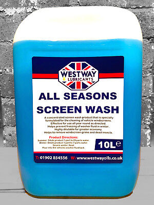 Screen Wash All Year Concentrate - Car Windscreen Washer Fluid 10L - 10 Litres